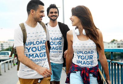 T-Shirt and Tank Top Mockup of Three Friends Chilling While Walking in the Street 44350-r-el2
