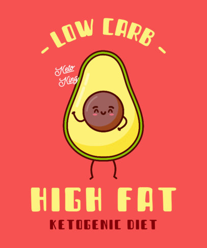 Colorful T-Shirt Design Maker with an Avocado Cartoon for Keto Dieters 3828c