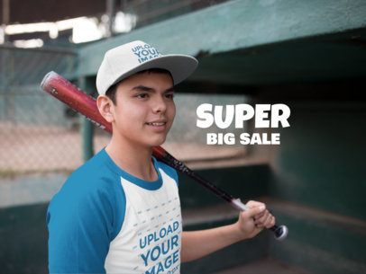 Kid Wearing a Baseball Hat Mockup and Raglan T-Shirt While Holding a Bat a15172