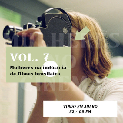 Instagram Post Template to Promote a Podcast About Brazilian Cinema 4121d-el1