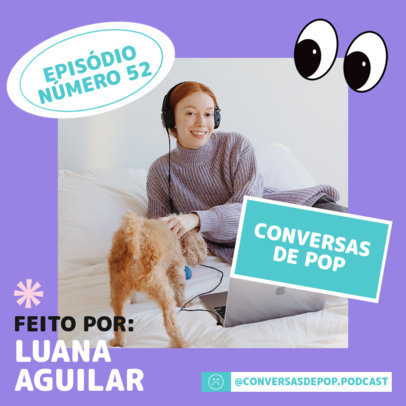 Instagram Post Maker with an Advertising Picture for a Podcast Episode 4125c-el1