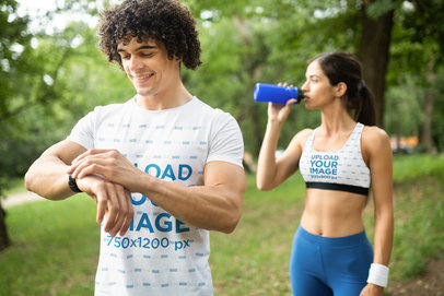 T-Shirt and Sports Bra Mockup of a Man and a Woman Exercising Outdoors 39794-r-el2