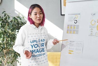 Hoodie Mockup of a Young Woman Giving a Presentation m10981 -r-el2