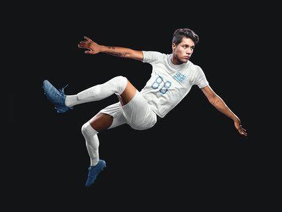 Custom Soccer Jerseys - Man Doing a Scissor Kick a16488