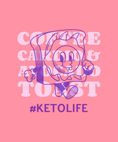 Quote T-Shirt Design Maker With a Cool Keto Diet Cartoon 3829f