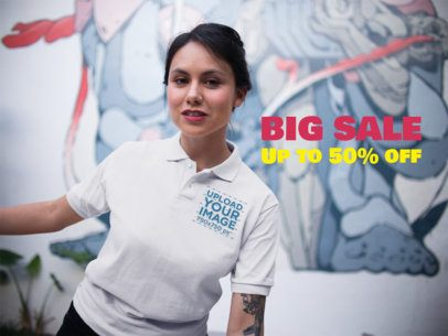 Girl Near an Urban Mural Wearing a Polo Shirt Mockup a15412