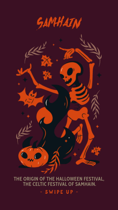 Illustrated Instagram Story Design Template to Celebrate Samhain 3834a