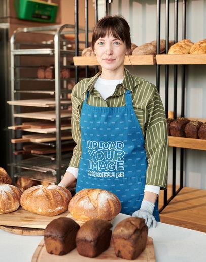 Sublimated Apron Mockup of a Woman at a Bakery M11072-r-el2