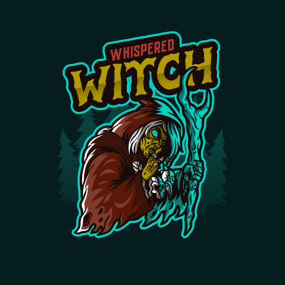Horror Gaming Logo Maker Featuring a Witch Graphic 4464a