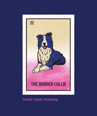 Illustrated T-Shirt Design Generator for Border Collie Owners 4466h