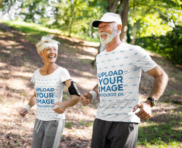 Activewear Mockup of a Happy Senior Couple Wearing T-Shirts While Running 41809-r-el2