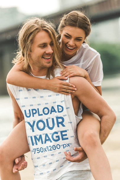 Sleeveless Shirt Mockup of a Man Piggybacking His Girlfriend 46387-r-el2