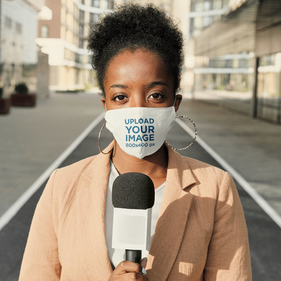 Mockup of a Reporter Wearing a Face Mask 43864-r-el2