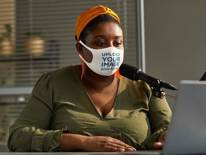 Mockup of a Woman Wearing a Face Mask While Doing a Radio Show 45489-r-el2