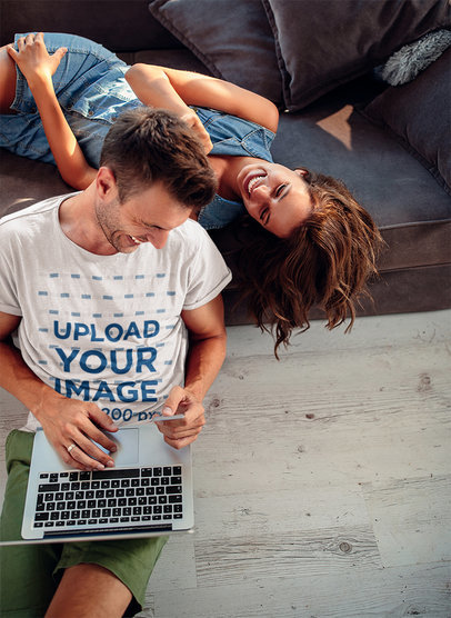 T-Shirt Mockup of a Man Chilling at Home with His Girlfriend M10181-r-el2