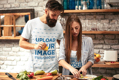 Heather T-Shirt and Tank Top Mockup of a Couple Cooking Together M10177-r-el2