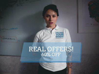 Facebook Ad - Woman Inside a Classroom Wearing a Polo Shirt a15424