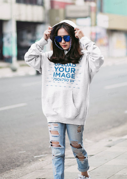 Mockup of a Young Trendy Woman Wearing an Oversized Hoodie m5865-r-el2