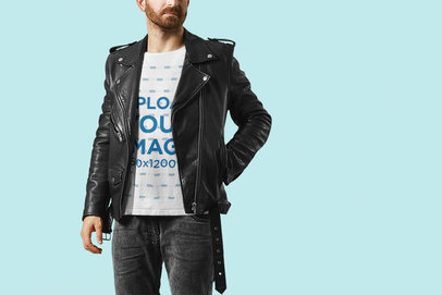 T-Shirt Mockup Featuring a Man with a Leather Biker Garment M6283-r-el2