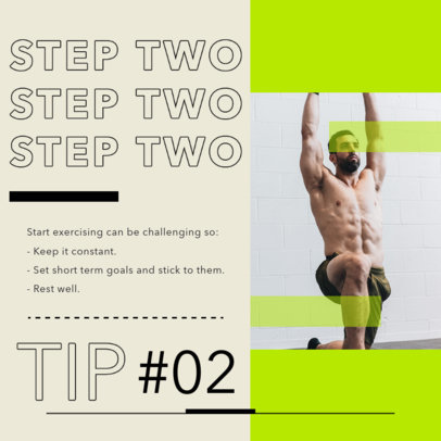 Instagram Post Design Template for a Carrousel with Fitness Tips 4150-el1