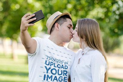 T-Shirt Mockup of a Man Taking a Selfie Kissing His Girlfriend M6551-r-el2