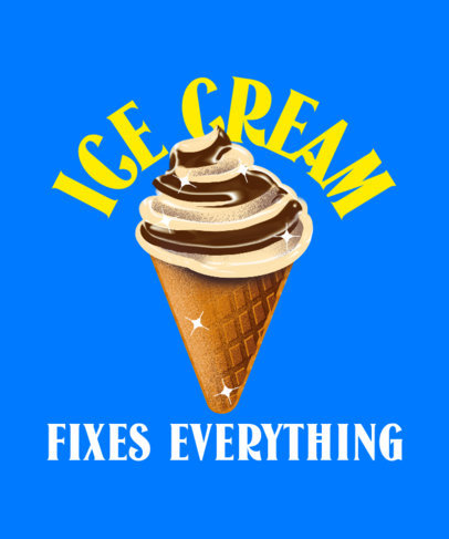 T-Shirt Design Maker for Junk Food Day Featuring an Ice Cream Illustration 3850d