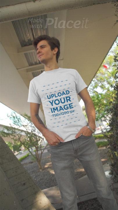 T-Shirt Video of a Man Posing in an Urban Setting 3604v