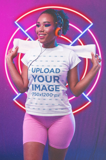 Retro-Styled T-Shirt Mockup Featuring a Woman Against a Neon Background m11202