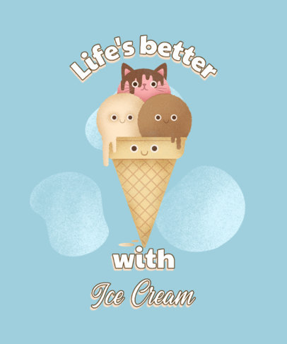 Illustrated T-Shirt Design Maker with a Smiling Ice Cream 3848b