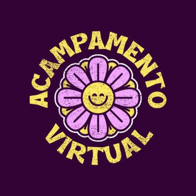 Virtual Summer Camp Logo Creator Featuring a Flower Clipart 4484g