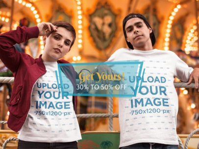 Young Couple Relaxing Near the Carousel While Wearing T-Shirts Mockup a16439