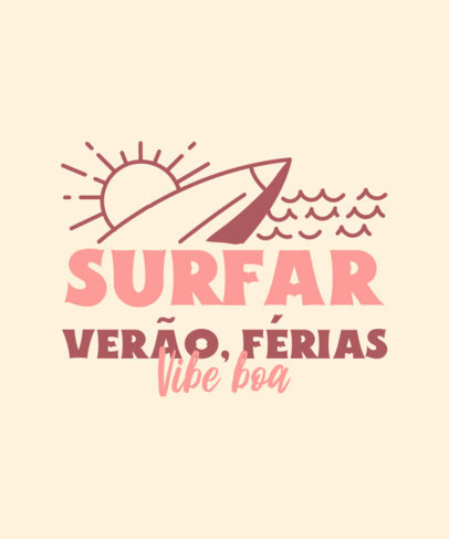 Summer T-Shirt Design Template With a Surfing Theme 3843f