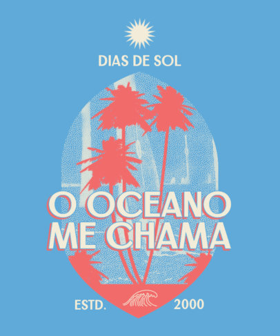 Summer T-Shirt Design Featuring a Retro Style and Palm Tree Graphics 3844i