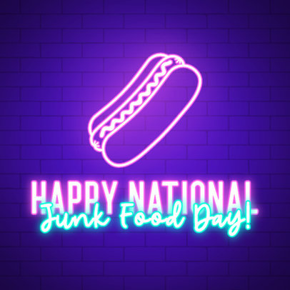 Festive Instagram Post Template for Junk Food Day with Neon Graphics 3851d