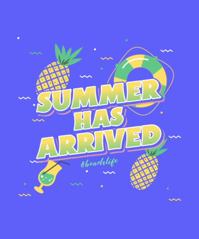 T-Shirt Design Template Featuring a Tropical Style with Pineapple Graphics 3846h