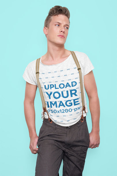 Heather T-Shirt Mockup Featuring a Young Man Wearing Suspenders m7961-r-el2
