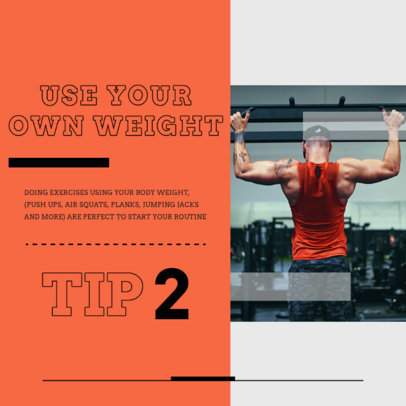 Instagram Post Maker to Share a Fitness Tip for Using Your Own Weight 4150a-el1