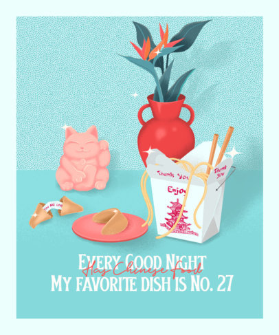 Illustrated T-Shirt Design Creator Featuring a Wok Box 3847a
