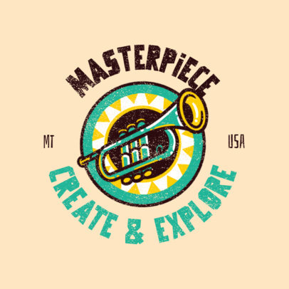Logo Template for Summer Music Camps Featuring a Trumpet Graphic 4484i