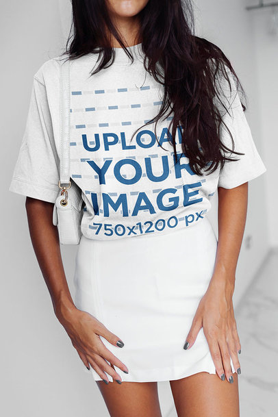 Mockup of a Long-Haired Woman Wearing a Unisex Tee m6310-r-el2