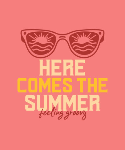 Summer T-Shirt Design Template Featuring a Quote and Illustrated Sunglasses 3843j