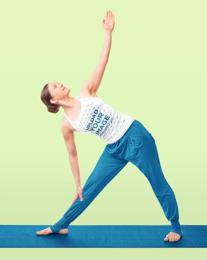 Tank Top Mockup of a Serious Woman Doing Yoga Against a Solid Color Backdrop 44509-r-el2