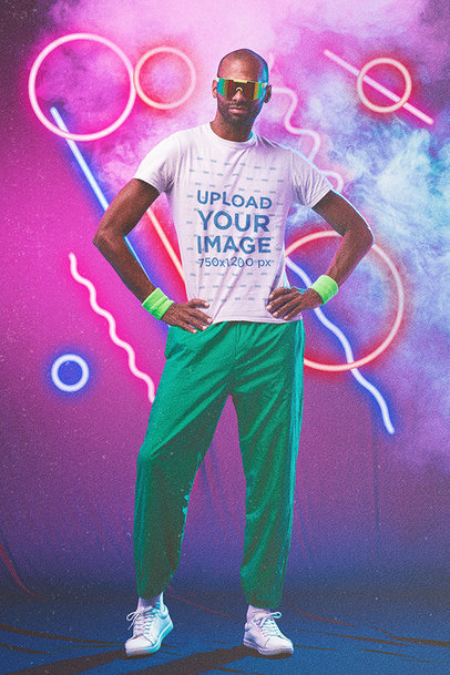 80's-Styled Mockup of a Man Looking Ready for a Cardio Session m11184
