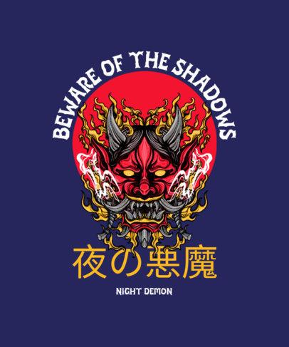 T-Shirt Design Maker Featuring a Fiery Japanese Demon Mask 4181a-el1
