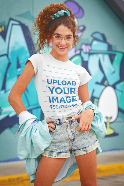 T-Shirt Mockup of a Curly-Haired Young Woman in an 80's Outfit  m11589
