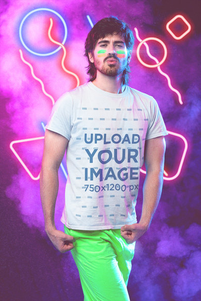 T-Shirt Mockup of a Man with a Mullet in an 80's-Themed Setting m11220