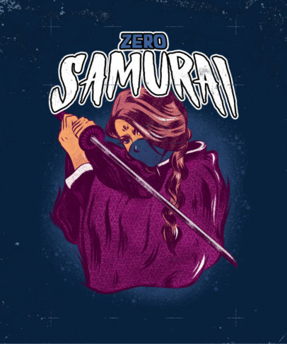 Gaming T-Shirt Design Maker with a Metal-Aesthetic Graphic of a Samurai 4499e