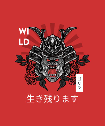 T-Shirt Design Creator Featuring a Wild Samurai Animal 4173b-el1
