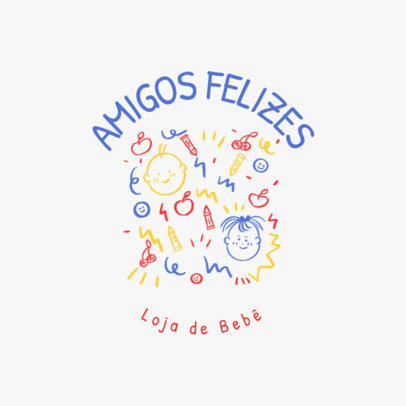 Colorful Logo Creator for a Baby Apparel Brand with Illustrated Doodles 4497c