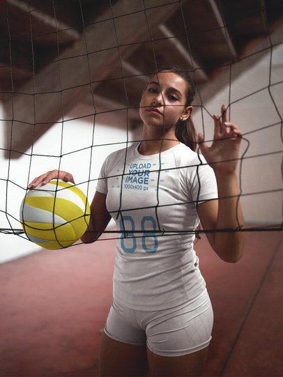Volleyball Jersey Maker - Woman Touching the Net a16540